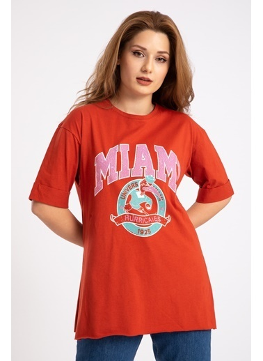 Madame Sare  Kadın Kiremit Miami Baskılı Yırtmaçlı Tişört Kiremit